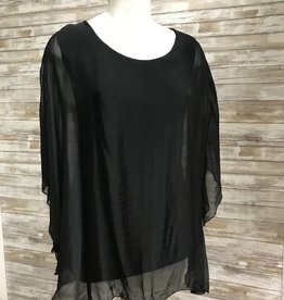 Made In Italy Black Woven Round Neck Poncho Style Tunic, 20/4736J