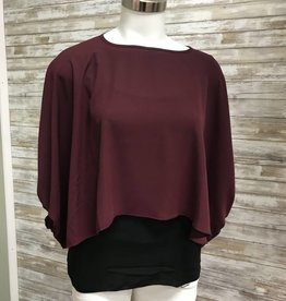 Made In Italy Cranberry Woven S/S Layered Top, 10/27543J