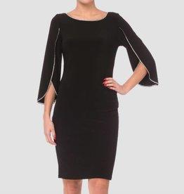 Black Sheath 3/4 Sleeve Jeweled Dress, 183026
