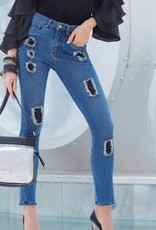 Joseph Ribkoff High Waisted Rip Accented Jeans