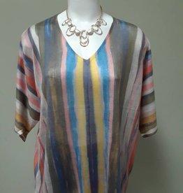 Alison Sheri Multi-Color Vertical Stripe Pullover
