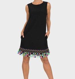 Joseph Ribkoff Black Dress with Tassels