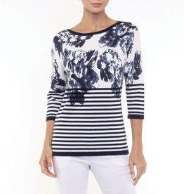 Alison Sheri Floral Front, Hor. Striped Back Pullover