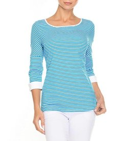Alison Sheri Aqua/White Striped T-Shirt