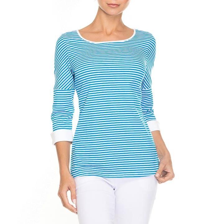 Alison Sheri Aqua/White Striped T-Shirt