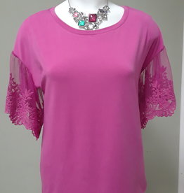 TRIBAL Short Sleeve Top W/ Lace