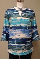 SOFT WORKS Multi Blue Waves Top