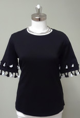 TRIBAL Short Sleeve Top W/ Tassels
