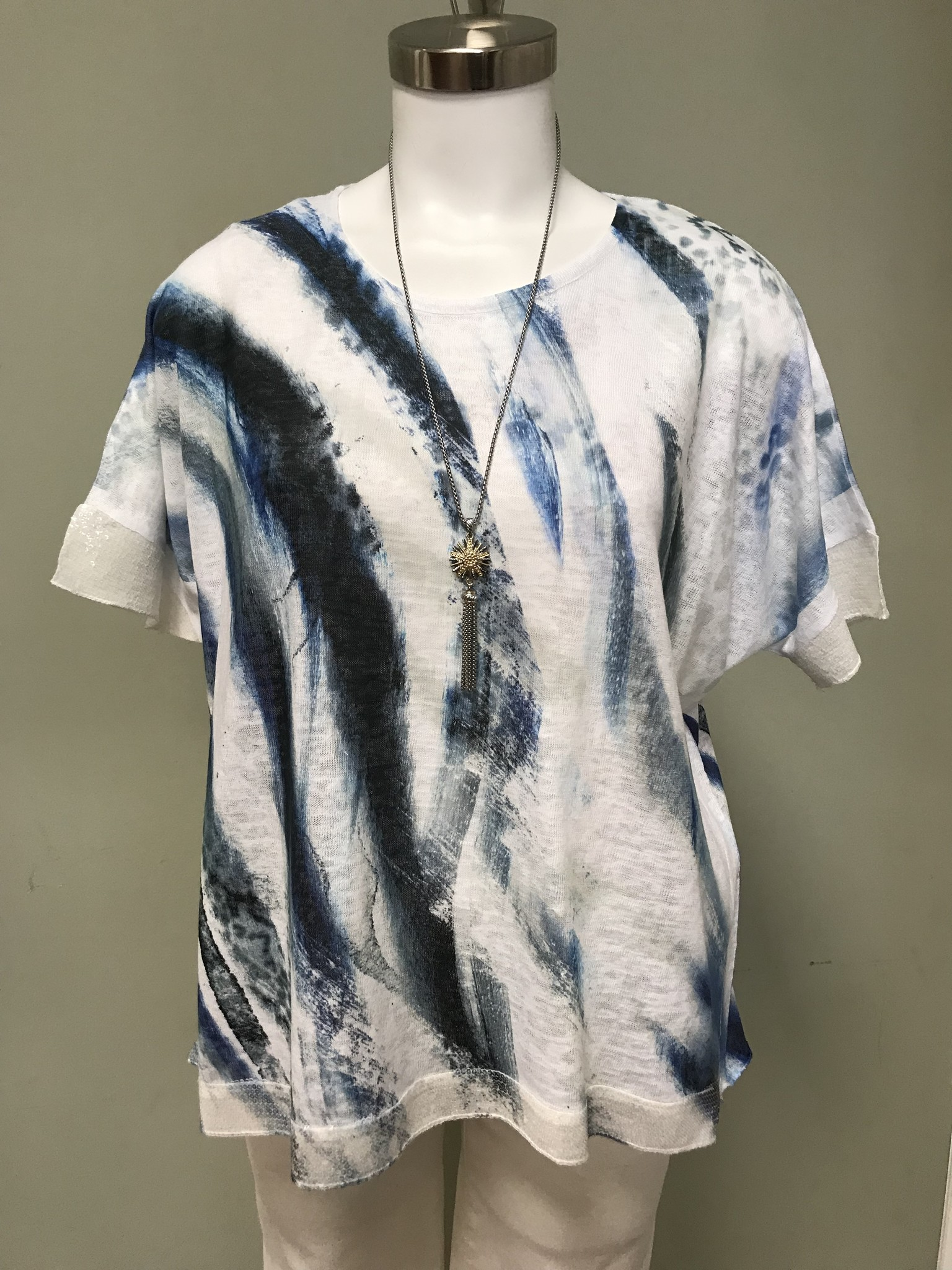 Impulse California Swirly Blues Sequin Top