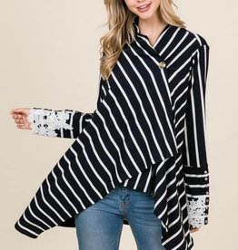 Loose Fit Stripe Cardigan -Navy