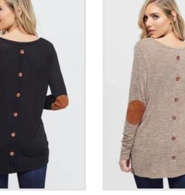 LA Showroom Solid L/S Tunic W/ Elbow Patch
