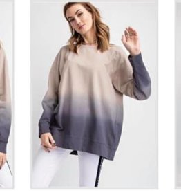 LA Showroom Dip Dye Terry Knit Top