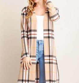 Plaid Print Long Cardigan
