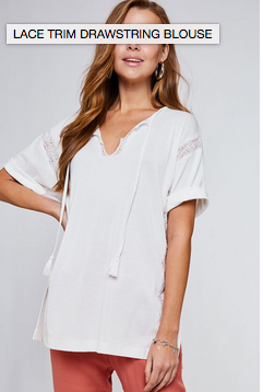 Lace Trim Drawstring Blouse