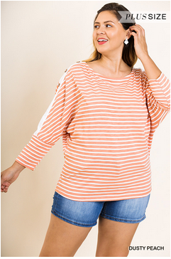 Button Trim Striped Dolman Top