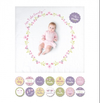 BABY'S FIRST YEAR BLANKET/CARDS -ISN'T SHE LOVELY