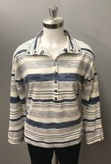 White/Denim Striped Top