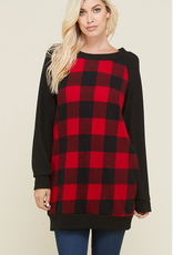 Nadia LONG SOLID SLEEVE PLAID TOP WITH POCKETS