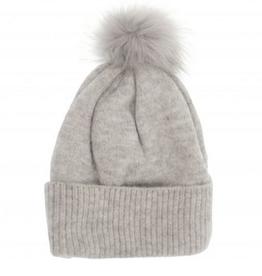 Fine Rib Knit Pom-Pom Hat