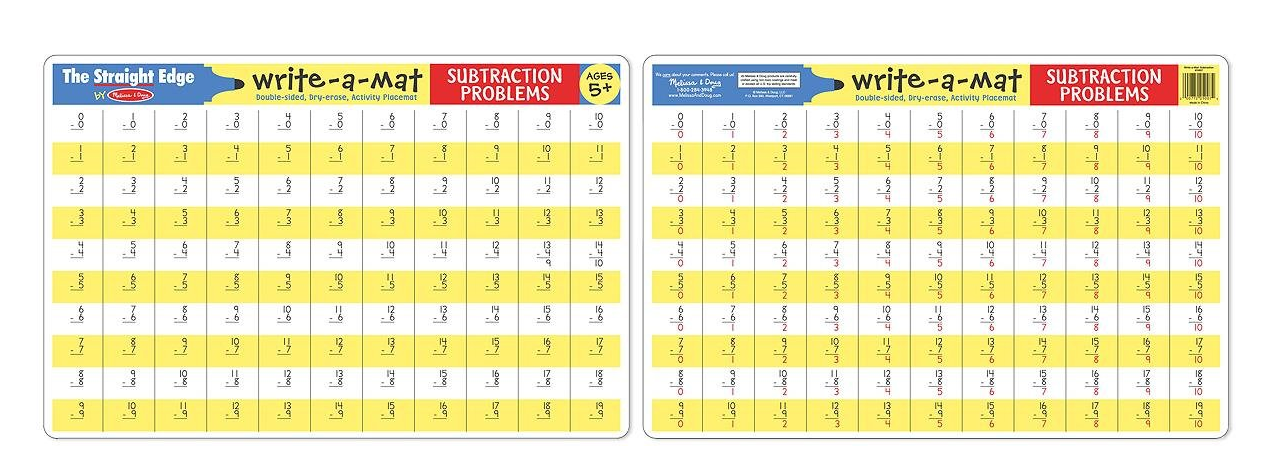 Melissa & Doug Subtraction Problems Write-A-Mat