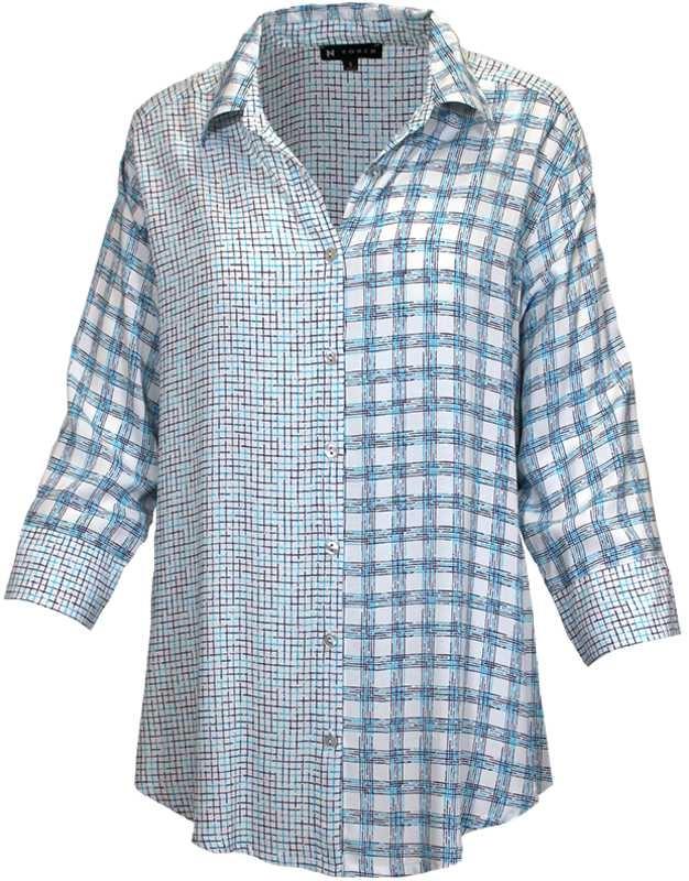 3/4 Slv Nandi Print Challis Shirt