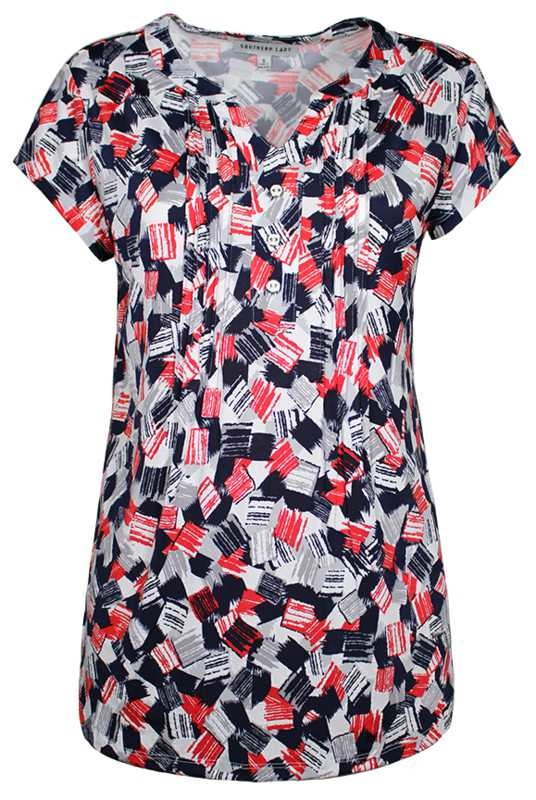 SOUTHERN LADY Cap Sleeve Printed Top