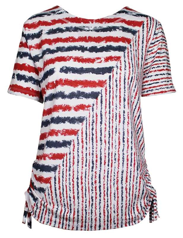 SOUTHERN LADY Short Sleeve Striped Print Top