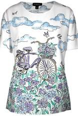 LINKS Short Sleeve Screen Bicycle Print Top