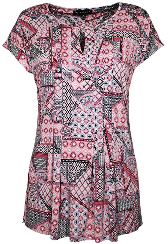 N TOUCH Cap Sleeve Print Top