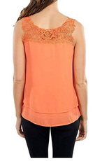 Papaya Sleeveless Top W/ Lace Trim Neckline