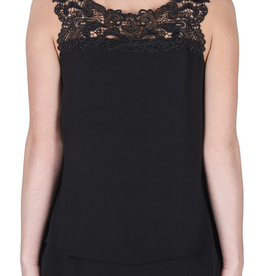 Black Sleeveless Top W/ Lace Trim Neckline