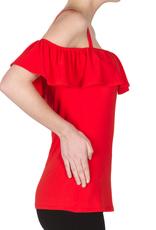 Ribbon Red Off Shoulder Blouse
