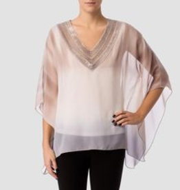Grey/Off-White/Brown V-Neck Blouse