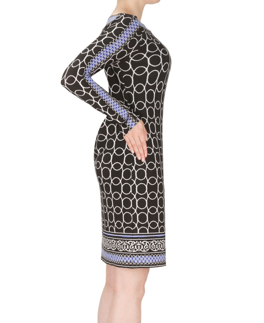 Black/White/Blue Long Sleeve Dress