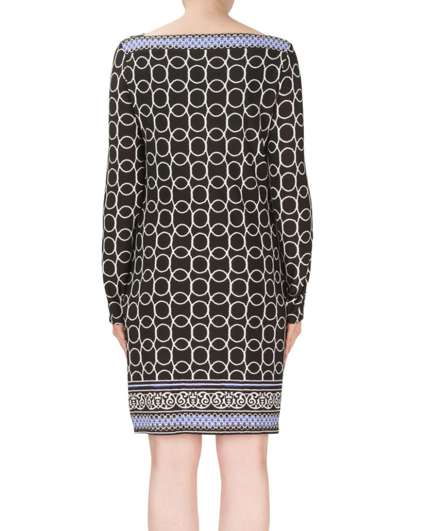 Black/White/Blue Long Sleeve Dress