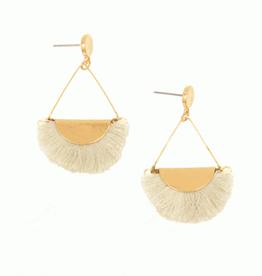 Joy Accessories by Joy Susan Ivory Fringe Gold Drop Post Earring