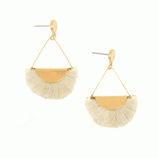 Ivory Fringe Gold Drop Post Earring