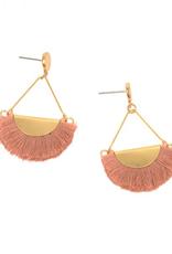 Pink Fringe Gold Drop Post Earring