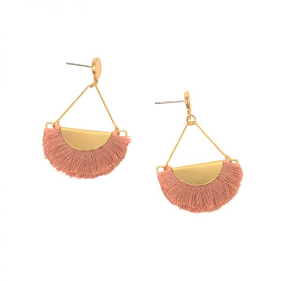 Joy Accessories by Joy Susan Pink Fringe Gold Drop Post Earring