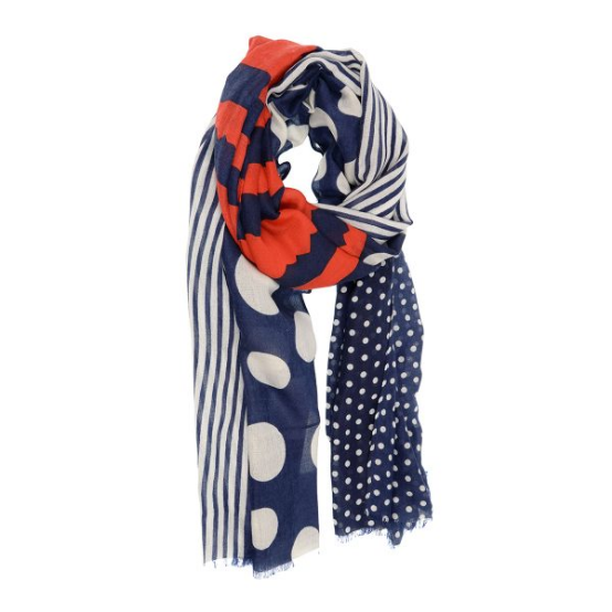 Joy Accessories by Joy Susan Red, White, Navy Dots & Stripes Scarf
