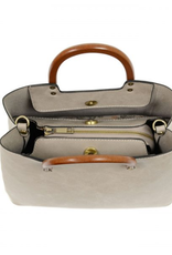 Angie Vintage Satchel with Wood Handle - Oyster