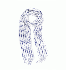 Navy & Ivory Anchor Scarf