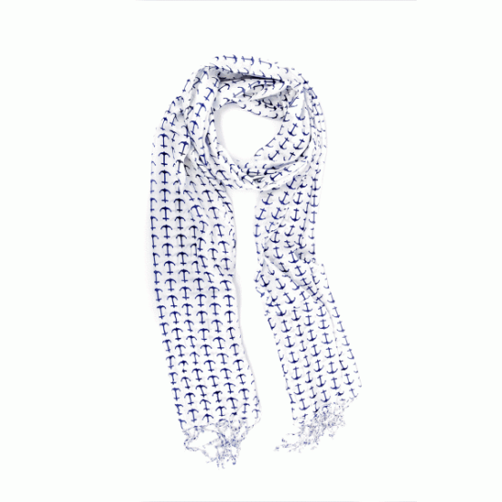 Joy Accessories by Joy Susan Navy & Ivory Anchor Scarf