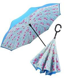 Rain Capers Umbrella - Reverse Open - Aqua/Spring Watercolor