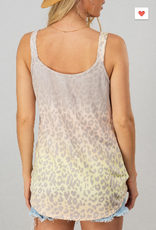 Gradient Leopard Twist Front Tank Top