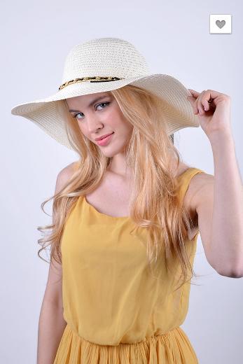 Spring/Summer Floppy Hat with Chain Detail - Black