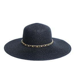 Spring/Summer Floppy Hat with Chain Detail - Black