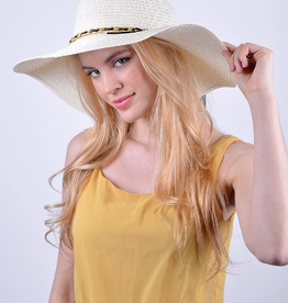 Spring/Summer Floppy Hat with Chain Detail - Ivory