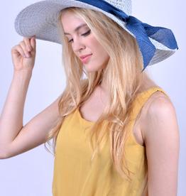 Brim Blue Bow Sky Blue Floppy Hat
