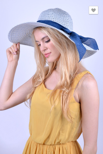 Brim Blue Bow Sky Blue Floppy Hat